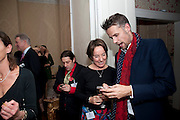 BERNIE KATZ;  JENNIE BLOUET; RICHARD BACON Streetsmart Reception at 11 Downing St. London. 1 November 2011. <br /> <br />  , -DO NOT ARCHIVE-© Copyright Photograph by Dafydd Jones. 248 Clapham Rd. London SW9 0PZ. Tel 0207 820 0771. www.dafjones.com.