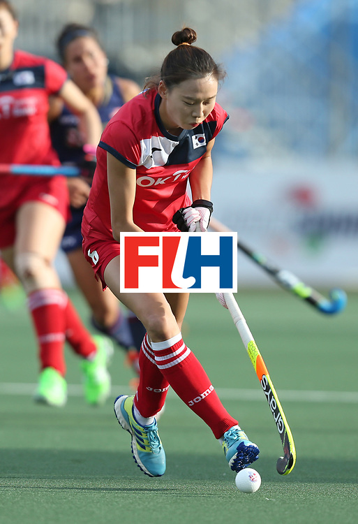 New Zealand, Auckland - 17/11/17  <br /> Sentinel Homes Women&rsquo;s Hockey World League Final<br /> Harbour Hockey Stadium<br /> Copyrigth: Worldsportpics, Rodrigo Jaramillo<br /> Match ID: 10291 - USA vs KOR<br /> Photo: (6) KIM Hyunji attack