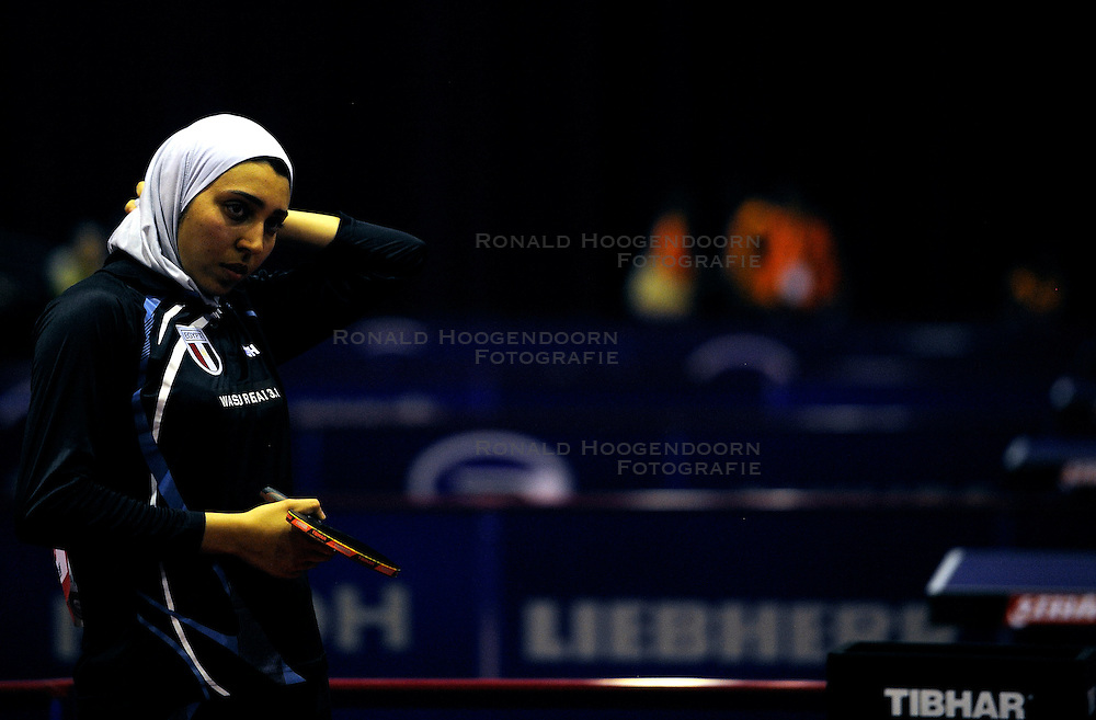 09-05-2011 TAFELTENNIS: WORLD TABLE TENNIS CHAMPIONSHIPS: ROTTERDAM<br /> Nadeen El-Dawlatly from Egypt are waiting for the light. There was a little light failure<br /> &copy;2011-FotoHoogendoorn.nl