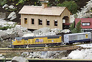 G-scale trains fill most of the backyard of Jerry and Lynne Humston during the open garden tour for garden railroad clubs from Cincinnati, Columbus and Indianapolis, Sunday, July 15, 2007.  They also have a smaller train out front, and Jerry did all the work himself.