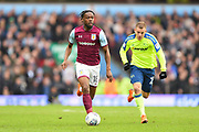 Aston Villa midfielder Josh Onomah (18) with Derby County striker Matej Vydra (23) closing to make a tackle during the EFL Sky Bet Championship match between Aston Villa and Derby County at Villa Park, Birmingham, England on 28 April 2018. Picture by Jon Hobley.