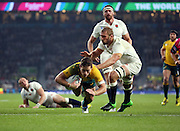 Australia's fly half Bernard Foley scoring Australia's first try to take the score 10 - 3 during the Rugby World Cup Pool A match between England and Australia at Twickenham, Richmond, United Kingdom on 3 October 2015. Photo by Matthew Redman.