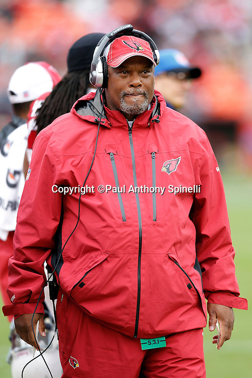 Arizona Cardinals defensive backs coach Donnie Henderson looks on during the NFL week 17 football game against the San Francisco 49ers on Sunday, January 2, 2011 in San Francisco, California. The 49ers won the game 38-7. (©Paul Anthony Spinelli)