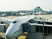 A Lufthansa jet prepares for boarding at the Frankfurt, Germany airport.