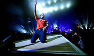 ORLANDO, FL - NOVEMBER 10 2017:  Dan Reynolds of Imagine Dragons performs at the Amway Center on November 10, 2017 in Orlando, Florida.