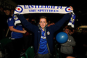 Eastleigh fan with a scalf above his head before the The FA Cup match between Eastleigh and Swindon Town at Arena Stadium, Eastleigh, United Kingdom on 4 November 2016. Photo by Graham Hunt.
