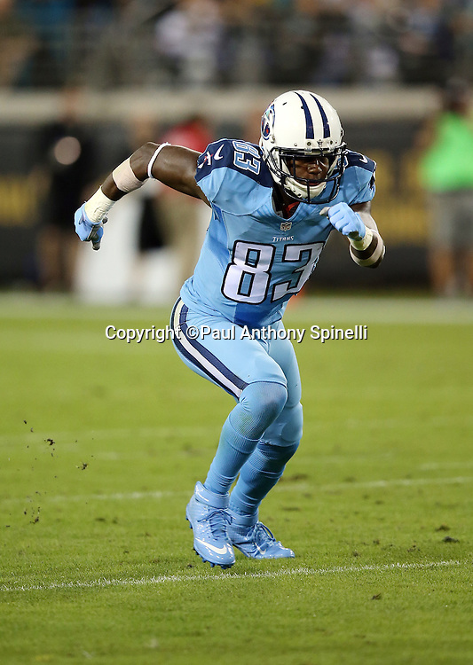 Tennessee Titans wide receiver Harry Douglas (83) goes out for a pass during the 2015 week 11 regular season NFL football game against the Jacksonville Jaguars on Thursday, Nov. 19, 2015 in Jacksonville, Fla. The Jaguars won the game 19-13. (©Paul Anthony Spinelli)