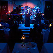 "November 19, 2012 - New York, NY : Singer-songwriter Sandy Stewart performs her routine ""Something to Remember"" at Feinstein's at Loews Regency in Manhattan on Monday evening. She is accompanied by her son, pianist Bill Charlap (on stage at left), and bassist Peter Washington (on stage at right). CREDIT: Karsten Moran for The New York Times"