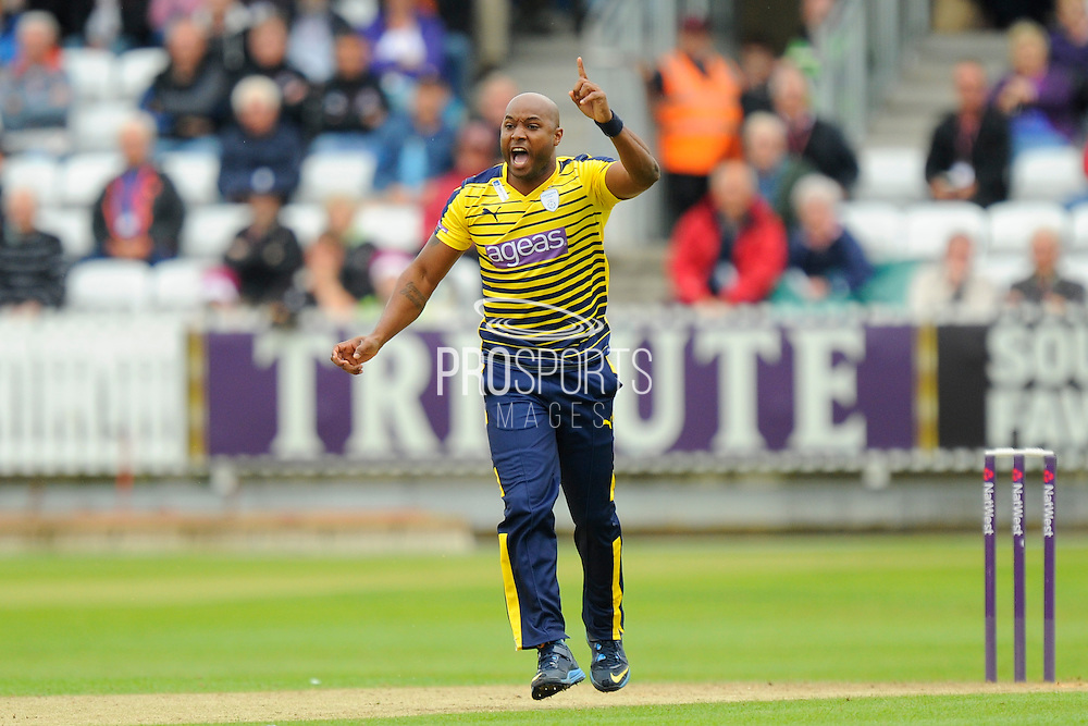 Hampshire's Tino Best appeals for a wicket during the NatWest T20 Blast South Group match between Somerset County Cricket Club and Hampshire County Cricket Club at the Cooper Associates County Ground, Taunton, United Kingdom on 19 June 2016. Photo by Graham Hunt.