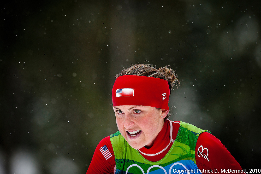 Holly Brooks, USA, competes in the women's cross-country skiing 30 KM mass start classic during the 2010 Vancouver Winter Olympics in Whistler, British Columbia, Saturday, Feb. 27, 2010. Canada defeated the United States 3-2 in overtime.