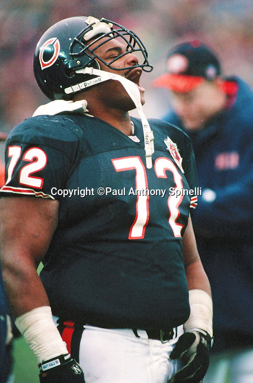 "Chicago Bears defensive tackle William ""Refrigerator"" Perry (72) yells out during the NFL football game against the Pittsburgh Steelers on Dec. 13, 1992 in Chicago. The Bears won the game 30-6. (©Paul Anthony Spinelli)"
