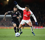 Arsenal striker Alexis Sanchez dribbling and performing some trickery during the Champions League match between Arsenal and Dinamo Zagreb at the Emirates Stadium, London, England on 24 November 2015. Photo by Matthew Redman.
