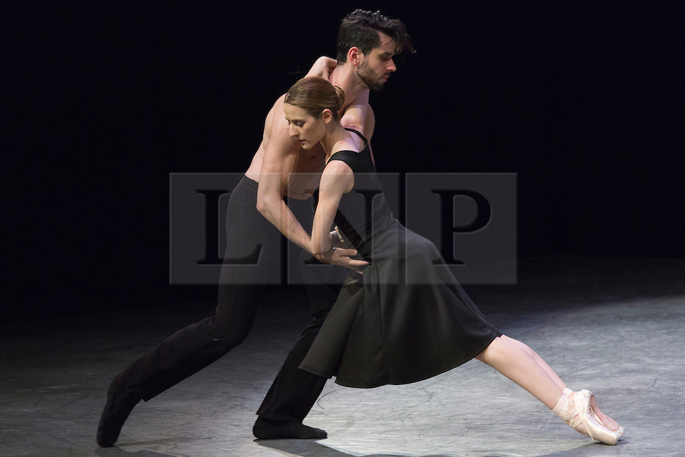 """© Licensed to London News Pictures. 07/08/2015. London, UK. """"Tangents"""" performed by Alessia Lugoboni and Paul Oliver. Members of the New English Ballet Theatre rehearse their forthcoming performances for """"Dancing for Nepal"""" at the Clore Studio/Royal Opera House. From 20-22 August 2015, the New English Ballet Theatre and special guests will perform at St James Theatre to raise funds for the Nepal earthquake relief effort. Photo credit: Bettina Strenske/LNP"""