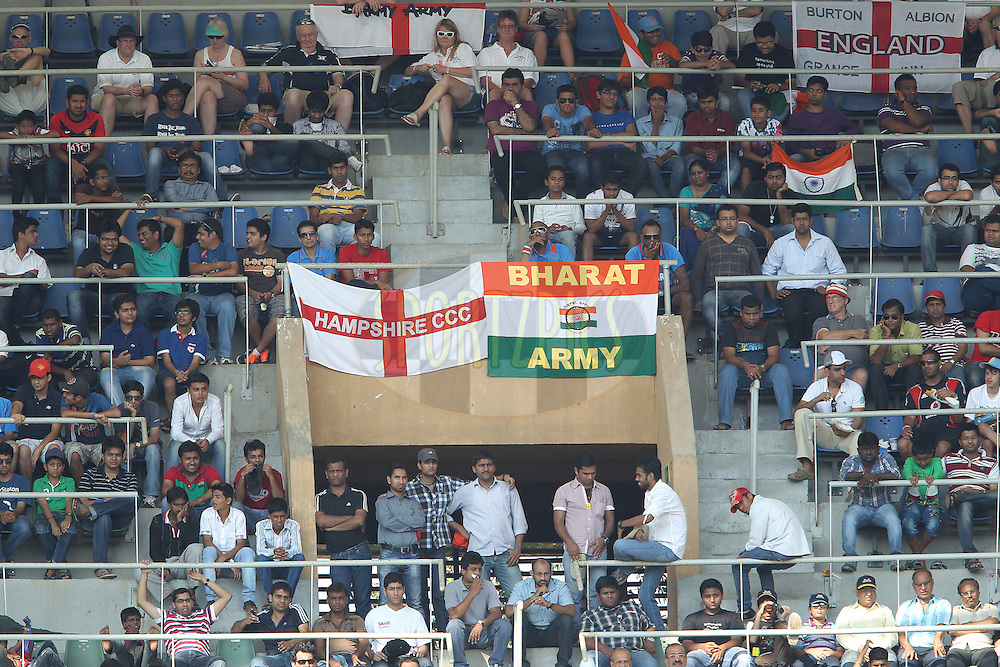 Fans show their allegiance during day 1 of the 2nd Airtel Test match between India and England held at the Wankhede Stadium in Mumbai, India on the 23rd November 2012...Photo by Ron Gaunt/ BCCI/ SPORTZPICS..Use of this image is subject to the terms and conditions as outlined by the BCCI. These terms can be found by following this link:..http://www.sportzpics.co.za/image/I0000SoRagM2cIEc