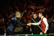 19.02.2016. Cardiff Arena, Cardiff, Wales. Bet Victor Welsh Open Snooker. Neil Robertson versus Ding Junhui. Ding Junhui and Neil Robertson shake hands before the match.