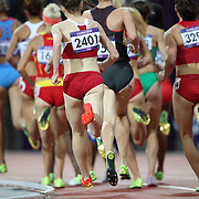 Polina Jelizarova, Latvia, (2401) brings up the rear during the Women's 3000m Steeplechase Final at the Olympic Stadium, Olympic Park, during the London 2012 Olympic games. London, UK. 6th August 2012. Photo Tim Clayton