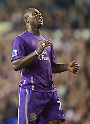LONDON, ENGLAND - Tuesday, October 27, 2009: Everton's Ayegbeni Yakubu looks dejected during his side's 2-0 defeat by Tottenham Hotspur during the League Cup 4th Round match at White Hart Lane. (Photo by David Rawcliffe/Propaganda)