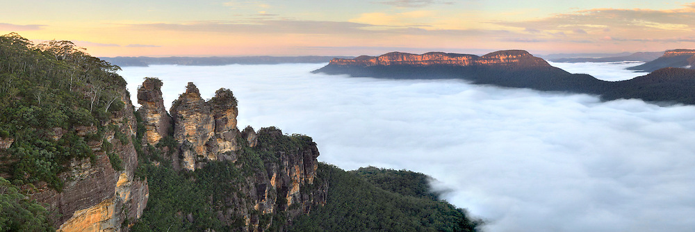 Three Sisters photographed in the Blue Mountains, west of Sydney, Australia.