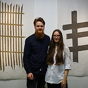 "Old Truman Brewery, London, England, UK. 22th September 2017. Max and Abigail work with wood, natural pigments and textiles, to produce sculptural of ""Forest + Found"" showcases at London Design Fair 2017."