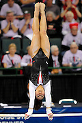 Corrie Lothrop on the uneven parallel bars at the 2011 Women's NCAA Gymnastics Semifinals on April 15, in Cleveland, OH. (photo/Jason Miller)