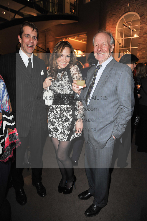 Left to right, BEN ELLIOT, TARA PALMER-TOMKINSON and her father CHARLES PALMER-TOMKINSON at a party to celebrate the launch of Simon Sebag-Montefiore's new book - 'Jerusalem: The Biography' held at Asprey, 167 New Bond Street, London on 26th January 2011.