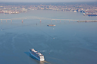 Aerial Photograph of the cruise ship carnival pride approaching the Key Bridge of Baltimore