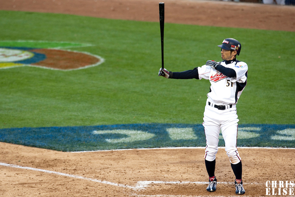 22 March 2009: #51 Ichiro Suzuki of Japan is seen at bat during the 2009 World Baseball Classic semifinal game at Dodger Stadium in Los Angeles, California, USA. Japan wins 9-4 over Team USA.