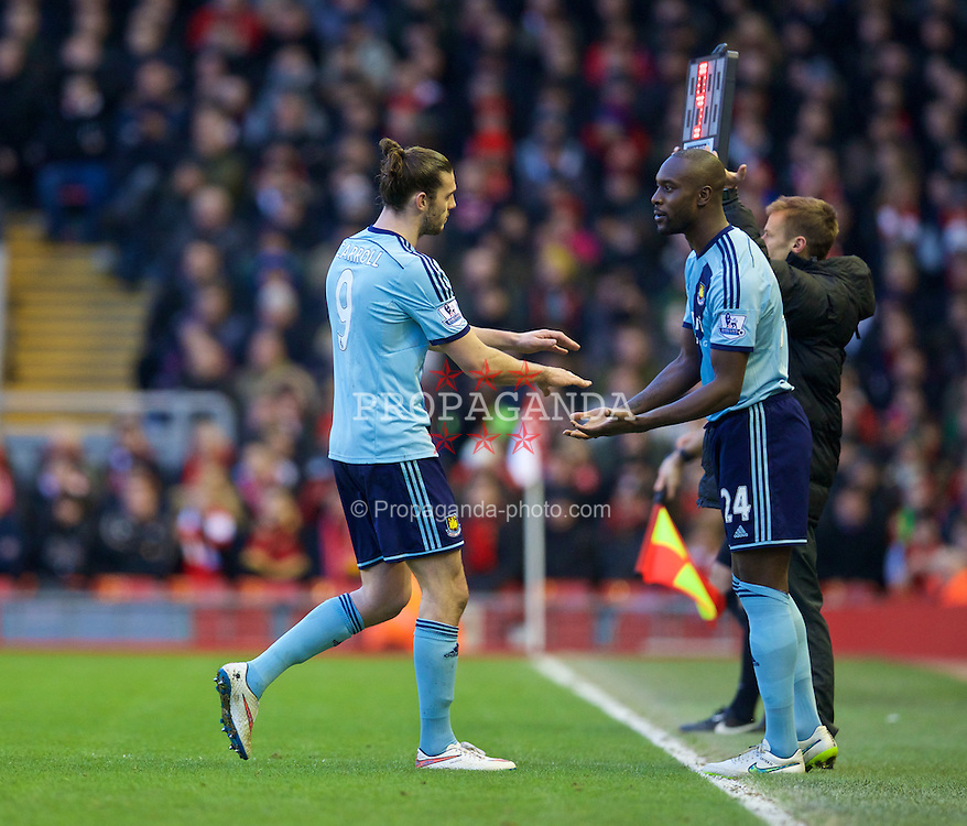 LIVERPOOL, ENGLAND - Saturday, January 31, 2015: West Ham United's Andy Carroll is substituted for Carlton Cole during the Premier League match against Liverpool at Anfield. (Pic by David Rawcliffe/Propaganda)