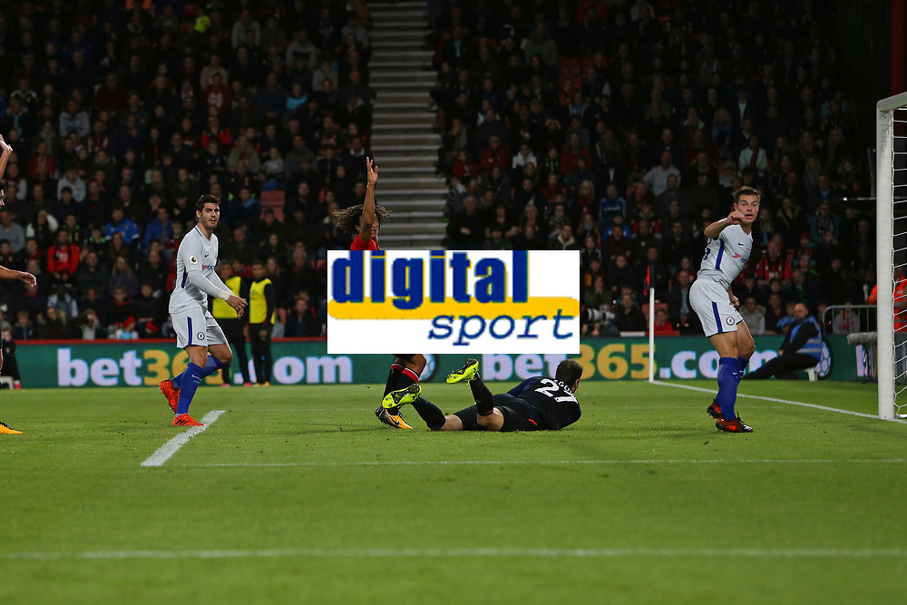 Football - 2017 / 2018 Premier League - AFC Bournemouth vs. Chelsea<br /> <br /> Alvaro Morata of Chelsea looks across at the official to see his first half strike ruled out for offside at Dean Court (Vitality Stadium) Bournemouth <br /> <br /> COLORSPORT/SHAUN BOGGUST