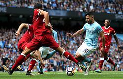 Sergio Aguero of Manchester City takes on Emre Can of Liverpool - Mandatory by-line: Matt McNulty/JMP - 09/09/2017 - FOOTBALL - Etihad Stadium - Manchester, England - Manchester City v Liverpool - Premier League