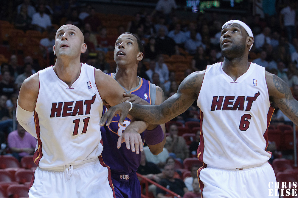 17 November 2010: Phoenix Suns' center #8 Channing Frye vies with Miami Heat's center #11 Zydrunas Ilgauskas and Miami Heat's small forward #6 LeBron James during the Miami Heat 123-96 victory over the Phoenix Suns at the AmericanAirlines Arena, Miami, Florida, USA.