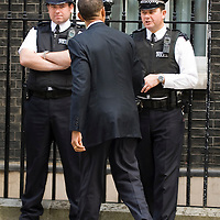 London, Downing Street July 26th  USA Presidential Candidate Baraka Obama during his visit to n10 Downing Street to meet Prime Minister Gordon Brown