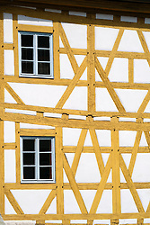 Detail of half timbered old town hall or Altes Rathaus in Bamberg Bavaria Germany
