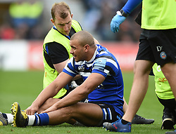 Jonathan Joseph of Bath Rugby is treated for an injury - Mandatory byline: Patrick Khachfe/JMP - 07966 386802 - 06/04/2019 - RUGBY UNION - Twickenham Stadium - London, England - Bath Rugby v Bristol Rugby - The Clash - Gallagher Premiership Rugby