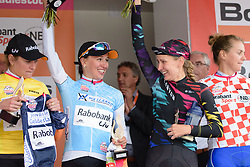 Kasia Niewiadoma and Alena Amialiusik share a joke at the 119 km Stage 6 of the Boels Ladies Tour 2016 on 4th September 2016 from Bunde to Valkenburg, Netherlands. (Photo by Sean Robinson/Velofocus).
