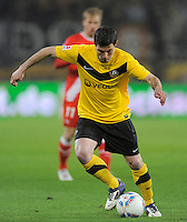 Fussball, 2. Bundesliga, Saison 2011/12, SG Dynamo Dresden - Fortuna Duesseldorf, Samstag (16.04.12), gluecksgas Stadion, Dresden. Dresdens Giannis Papadopoulos am Ball.