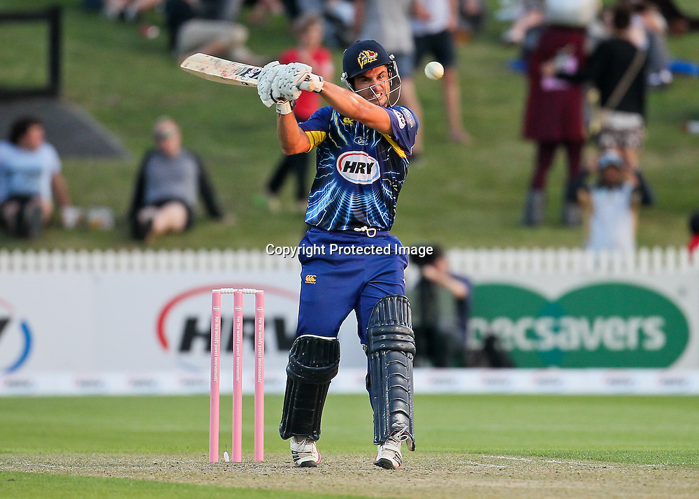 Otago Volt's Ryan ten Doeschate lines up a short ball during the HRV Cup - Northern Knights v Otago Volts at Seddon Park, Hamilton on Friday 14 December 2012.  Photo: Bruce Lim / Photosport.co.nz