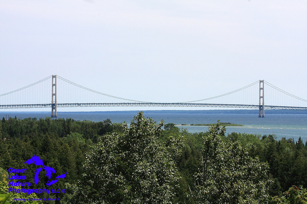 One of several views of the Mackinac Bridge that I captured from an observation point near Point le Barbe in early July, 2013. This vantage point provides a nearly perpendicular view of the bridge, which highlights its awesome five-mile length.
