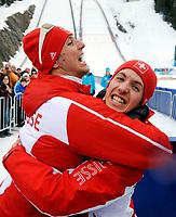 Simon Ammann (SUI) freut sich ueber den Gewinn der Goldmedaille. © Valeriano Di Domenico/EQ Images