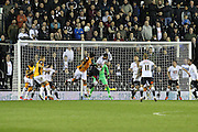 Hull attack the Derby goal from a corner-kick during the Sky Bet Championship match between Derby County and Hull City at the iPro Stadium, Derby, England on 5 April 2016. Photo by Aaron  Lupton.