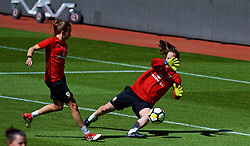 SOUTHAMPTON, ENGLAND - Thursday, April 5, 2018: Wales' Kayleigh Green and goalkeeper Laura O'Sullivan during a training session at St. Mary's Stadium ahead of the FIFA Women's World Cup 2019 Qualifying Round Group 1 match against England. (Pic by David Rawcliffe/Propaganda)