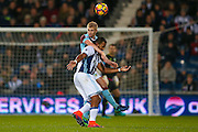 Burnley defender Ben Mee (6)  wins the header against West Bromwich Albion forward Jose Salomon Rondon (9)  during the Premier League match between West Bromwich Albion and Burnley at The Hawthorns, West Bromwich, England on 21 November 2016. Photo by Simon Davies.
