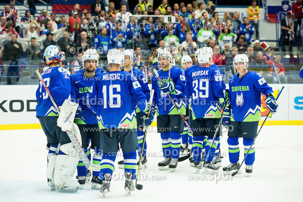 Robert Kristan of Slovenia, Mitja Robar of Slovenia and other players of Slovenia look dejected after the Ice Hockey match between Slovenia and USA at Day 10 in Group B of 2015 IIHF World Championship, on May 10, 2015 in CEZ Arena, Ostrava, Czech Republic. Photo by Vid Ponikvar / Sportida