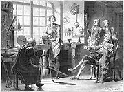 Joseph Black visiting James Watt in his Glasgow workshop, c1760. Artist's impression of Joseph Black (1729-1799), Scottish chemist, visiting James Watt (1736-1819), Scottish inventor and engineer, in his workshop in the precincts of Glasgow University where he was instrument maker to the university. From'Les Merveilles de la Science', Louis Figuier, (Paris c1879).