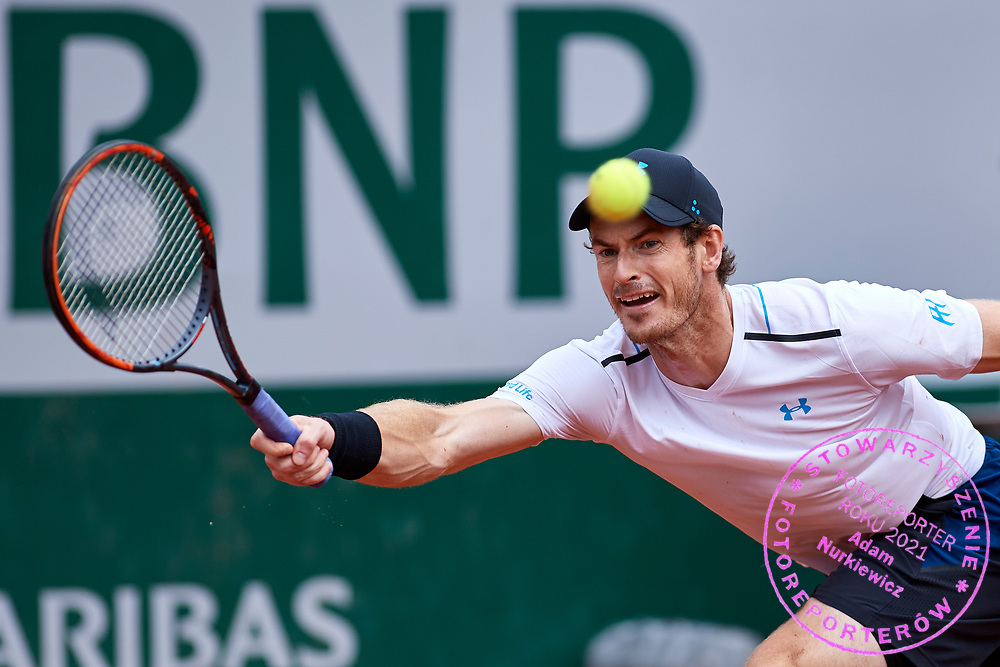 Paris, France - 2017 June 03: Andy Murray from Great Britain plays a forehand while his men's single match third round during tennis Grand Slam tournament The French Open 2017 (also called Roland Garros) at Stade Roland Garros on June 03, 2017 in Paris, France.<br /> <br /> Mandatory credit:<br /> Photo by &copy; Adam Nurkiewicz<br /> <br /> Adam Nurkiewicz declares that he has no rights to the image of people at the photographs of his authorship.<br /> <br /> Picture also available in RAW (NEF) or TIFF format on special request.<br /> <br /> Any editorial, commercial or promotional use requires written permission from the author of image.