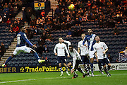 Birmingham City midfielder Jacques Maghoma heads towards goal during the Sky Bet Championship match between Preston North End and Birmingham City at Deepdale, Preston, England on 15 December 2015. Photo by Pete Burns.