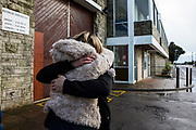 The moment a wife is reunited with her husband after 2 and a half years of imprisonment.  HMP/YOI Portland, Dorset, United Kingdom.