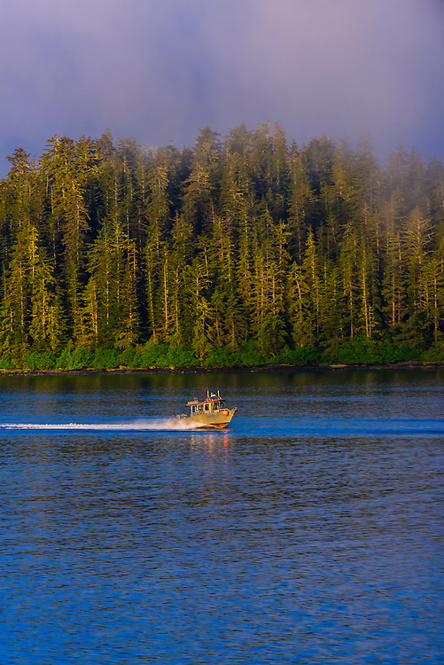 Fishing boats, Sitka Sound,  Inside Passage, near Sitka, Alaska USA.