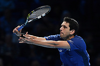 Tennis - 2019 Nitto ATP Finals at The O2 - Day Five<br /> <br /> Doubles Group Jonas Bjorkman: Lukask Kubot & Marcelo Melo vs. Rajeev Ram & Joe Salisbury<br /> <br /> Marcelo Melo in action during their victory 6-7, 6-4, 10-7.<br /> <br /> COLORSPORT/ASHLEY WESTERN