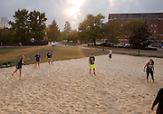 Intramural volleyball teams play a game on South Beach on Sept. 30, 2014. Photo by Lauren Pond